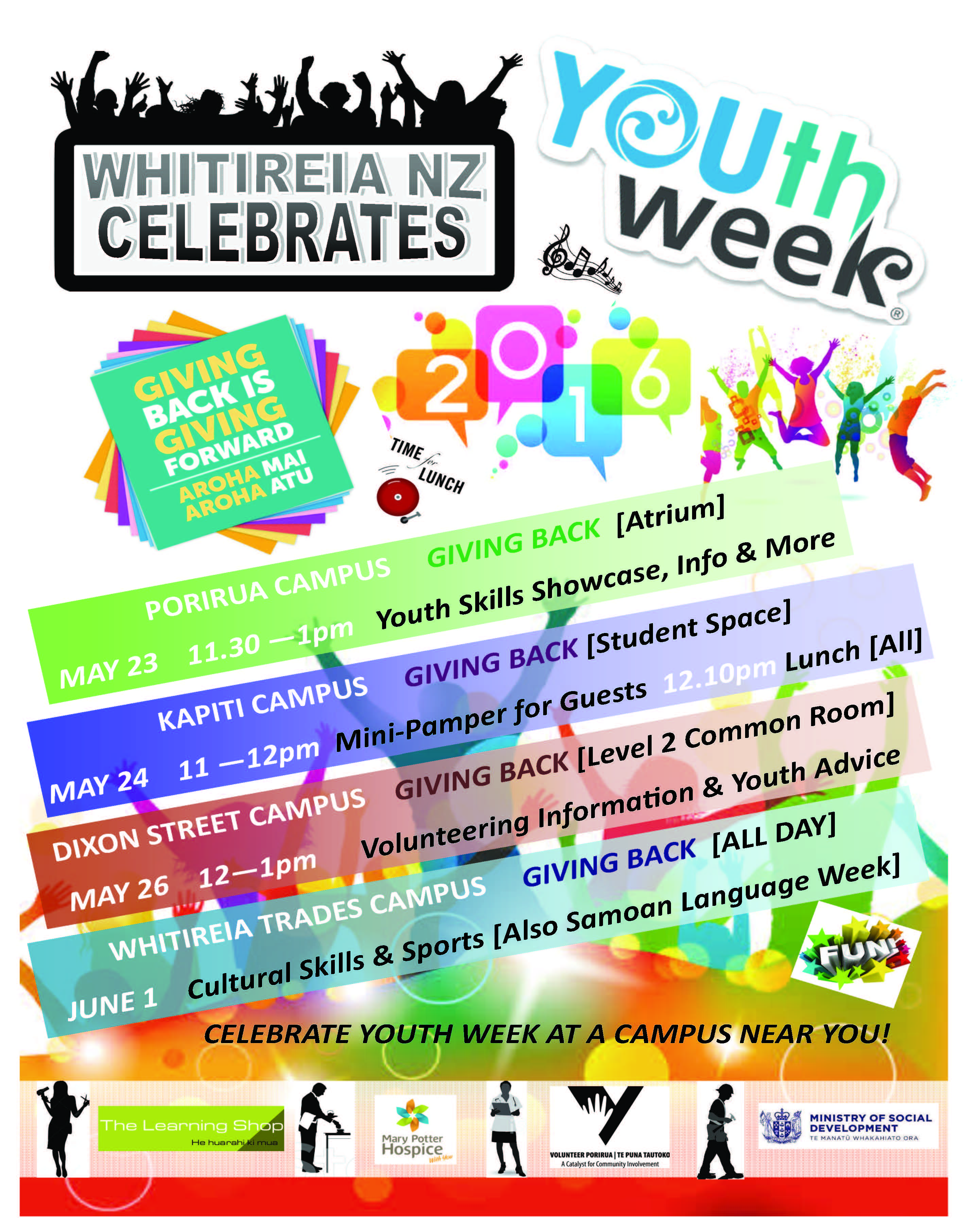 Youth Week Poster with dates - location of events