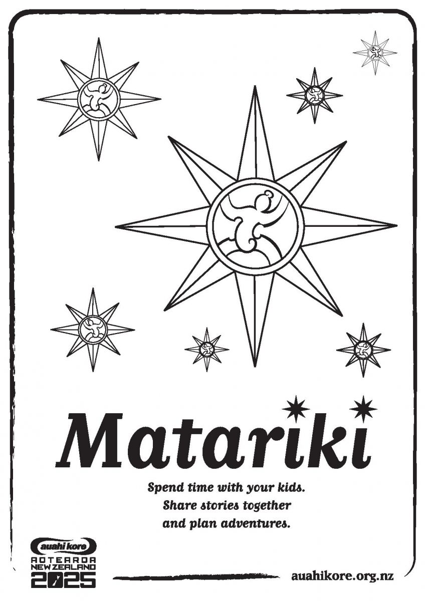 Matariki colouring-in page from Auahi Kore