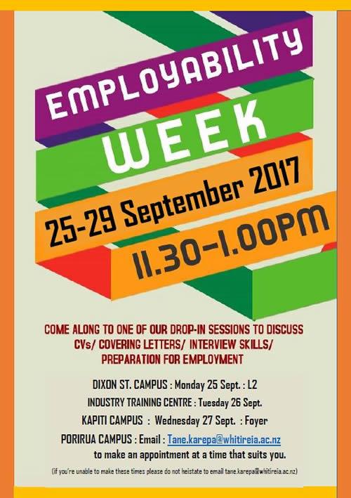 Wellington Campuses: Employability Week 25 - 29 September 2017